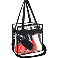 Bagail Clear Bag NFL & PGA Stadium Approved Tote Bags with Front Pocket and Adjustable Shoulder Strap (Pitch Black)