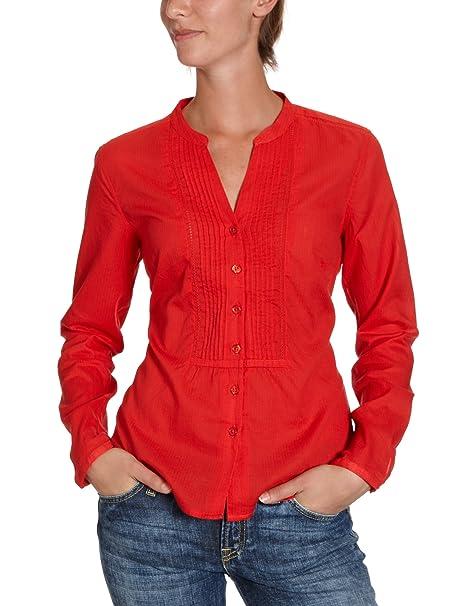 Eddie Bauer - Blusa con cuello mao de manga larga para mujer, talla 34, color rojo: Amazon.es: Ropa y accesorios