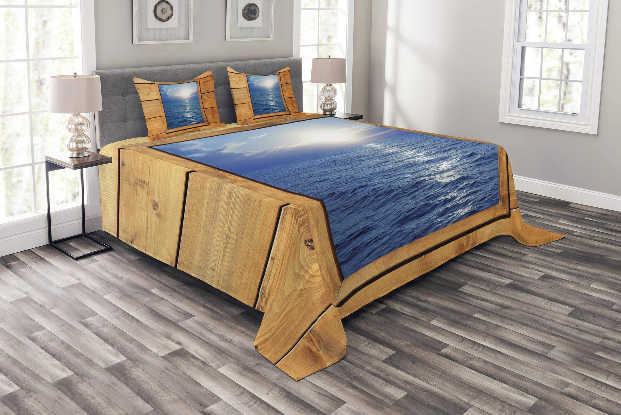 Lunarable Rustic Bedspread Set King Size, Window Sea View from Wooden Oak Square Frame Room Sunrise Sun Rays Rustic, Decorative Quilted 3 Piece Coverlet Set with 2 Pillow Shams, Blue Pale Caramel