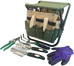Garden Tools Set Organizer | Garden Seat Folding Gardening Stool Chair Kneeler