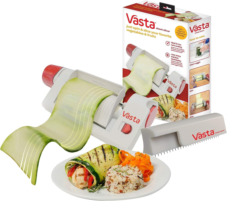 Vasta 2-in-1 Vegetable & Fruit Sheet & Noodle Slicer – BPA-Free, Stores Away Easily- Create Low Carb Veggie Sheets, Lasagna, Fettucine from Zucchini, Potatoes, Beets, Apples,– Keto, Vegan, Vegetarian