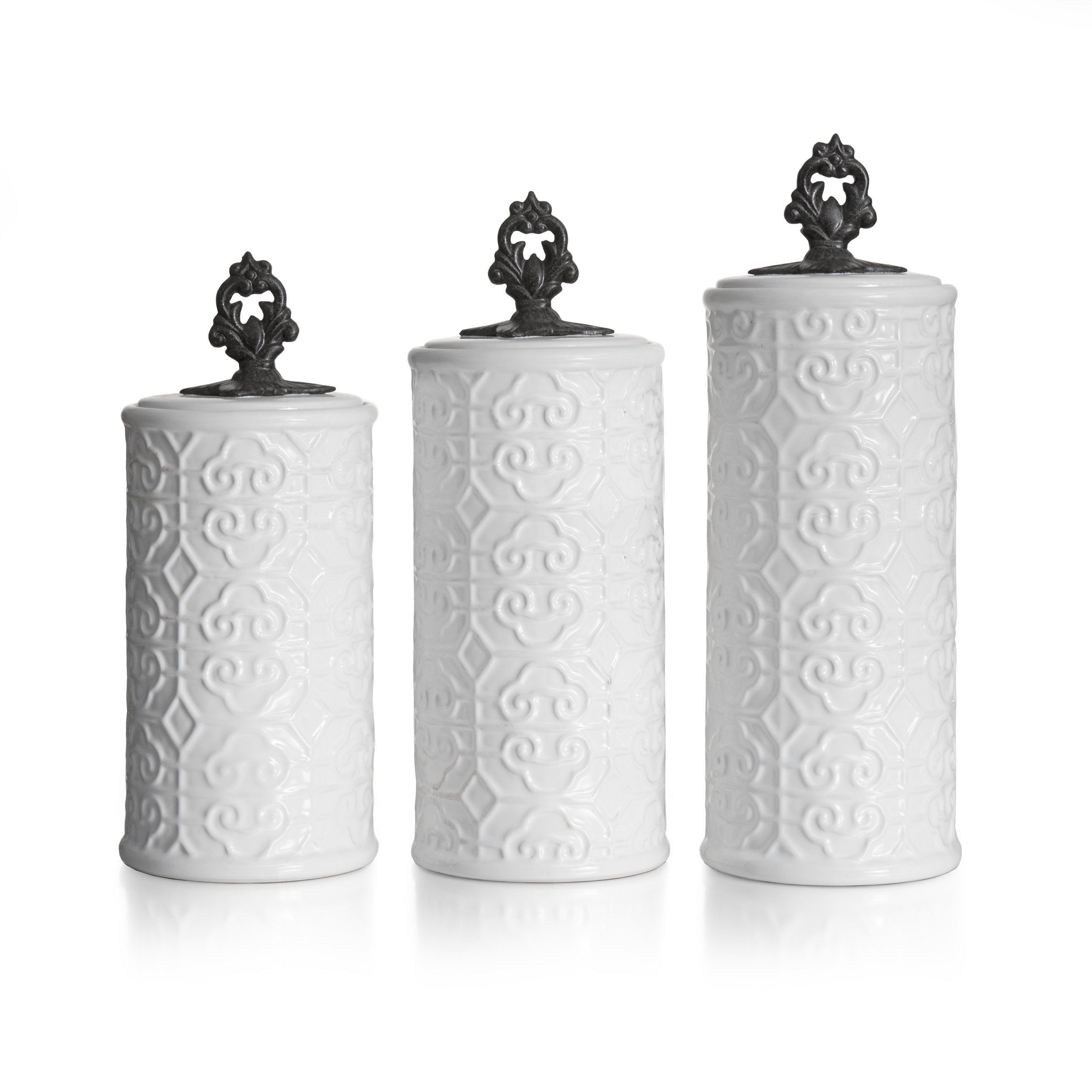 American Atelier Devi 3 Piece Canister Set, White by American Atelier