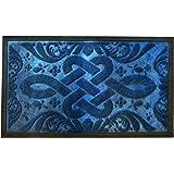 Star Element Rubber Back Anti Slip Front Doormat Large 30 x 18 inches Durable Outdoor Indoor Entrance Doormat (Blue)