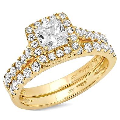 Amazon.com: Clara Pucci 1.5 CT Princess Cut Pave Halo Bridal ...