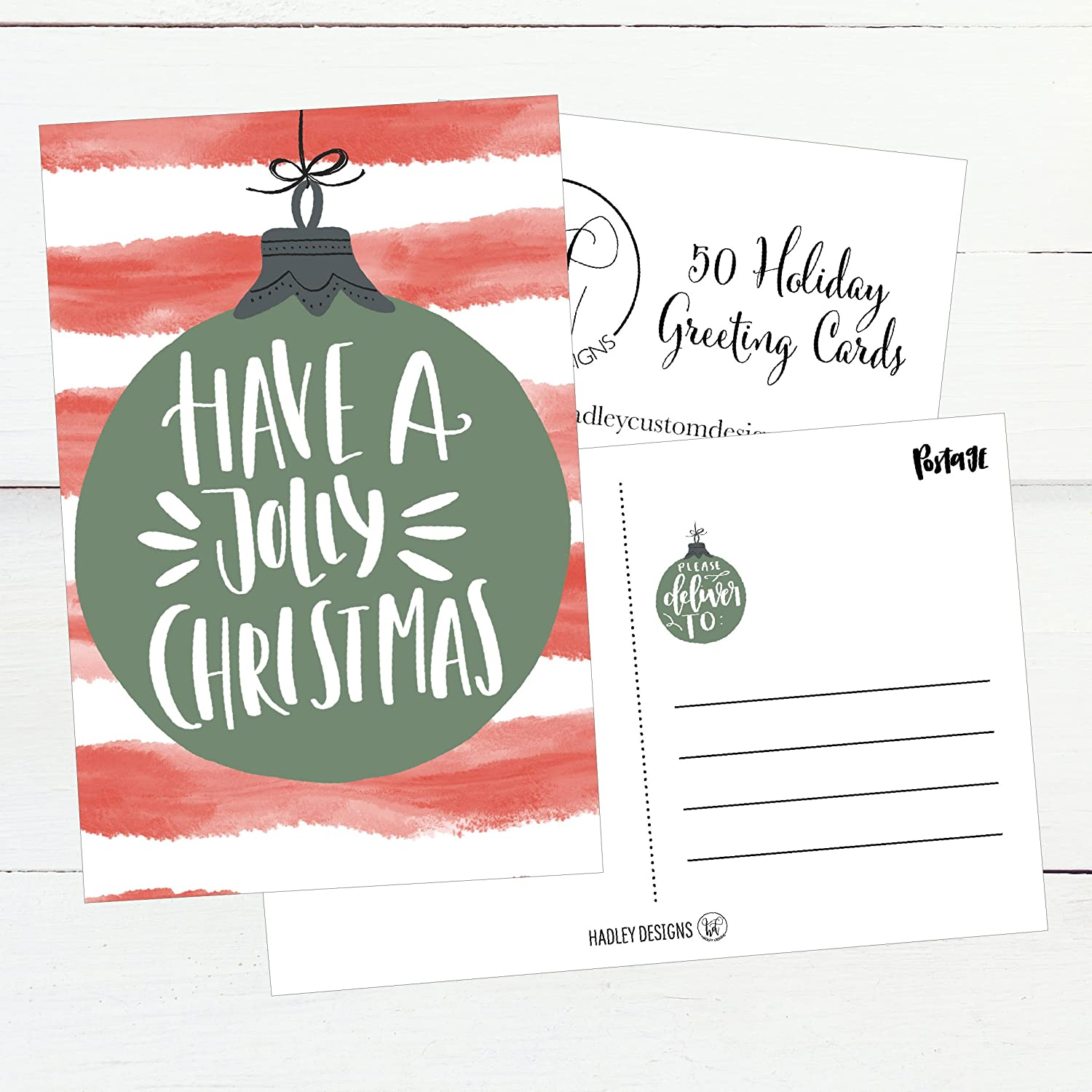 Amazon 50 Red Green Holiday Greeting Cards Cute Fancy Blank