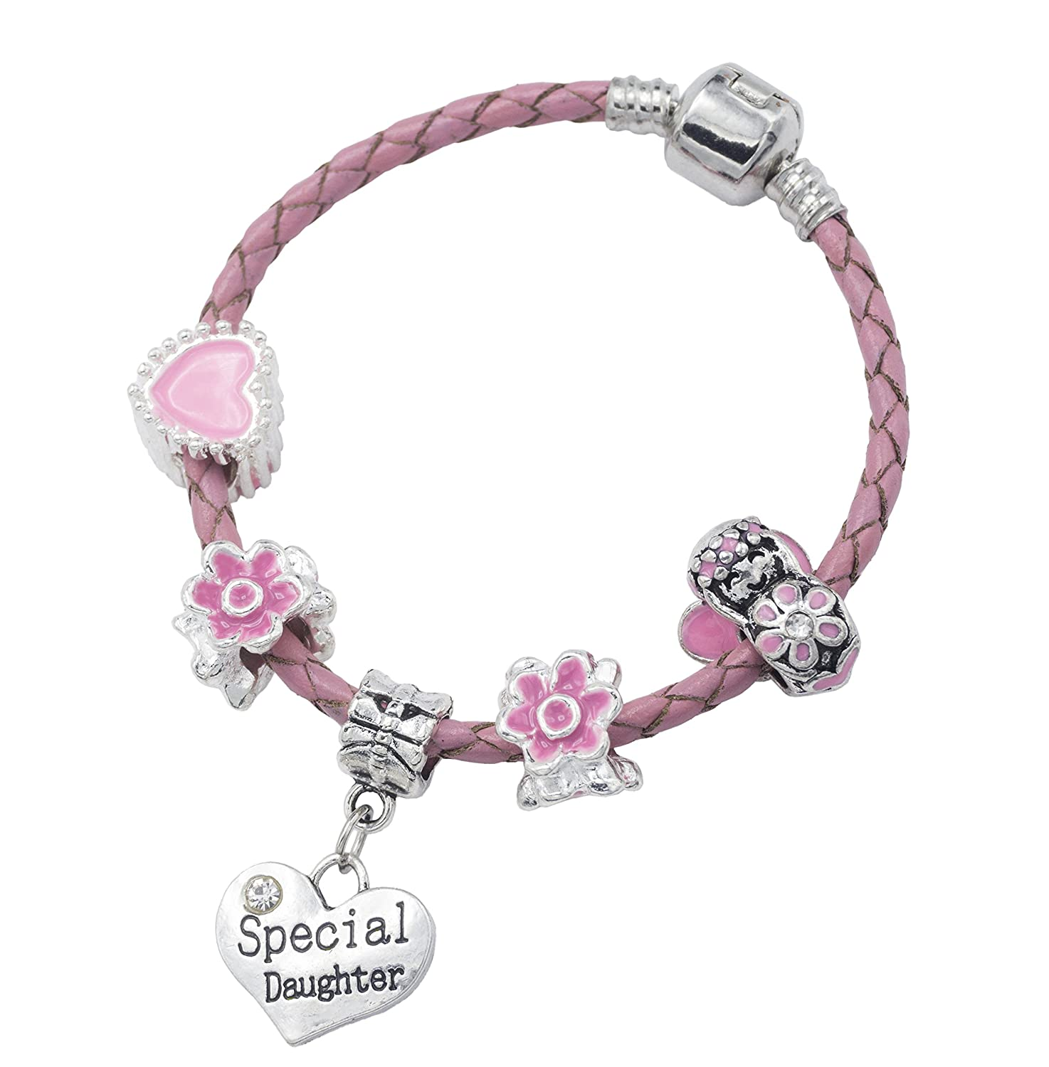 'Special Daughter' Pink Leather Charm Bracelet for Girls Presented in High Quality Gift Pouch Jewellery Hut BRPNKLTSPECIALDAUGHTER