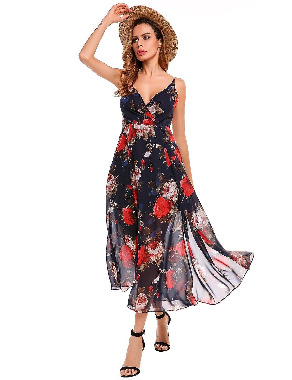 Beyove Chiffon Maxi Dress Women Vintage V Neck Floral Print Long Bohemian Beach Dress at Amazon Womens Clothing store: