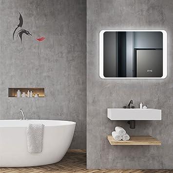 Badspiegel LED Mit Digital Uhr, Hannover 70x50cm, Badezimmerspiegel Mit Uhr