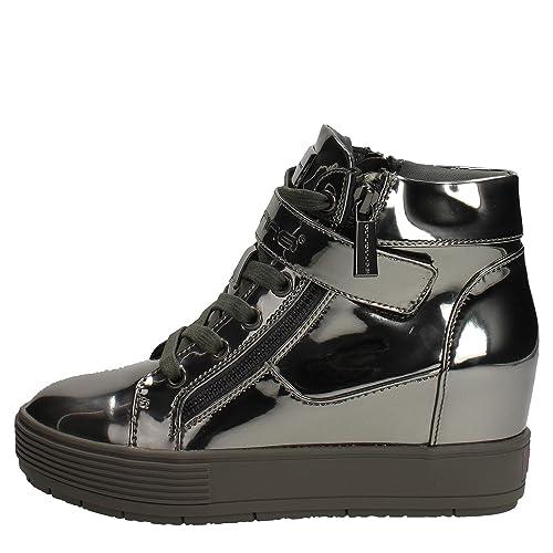 Fornarina Sneakers con Zeppa Interna Argento PIFMJ9606WPA9000 meti-pweter  Mirror Nuova Collezione Autunno Inverno 2016 2017  Amazon.it  Scarpe e borse 2b08d44b6df