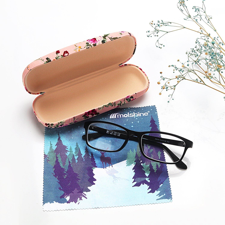 G Size: M Molshine Fabrics Floral Retro Light Portable Eyeglasses Glasses Case for Reading Glasses