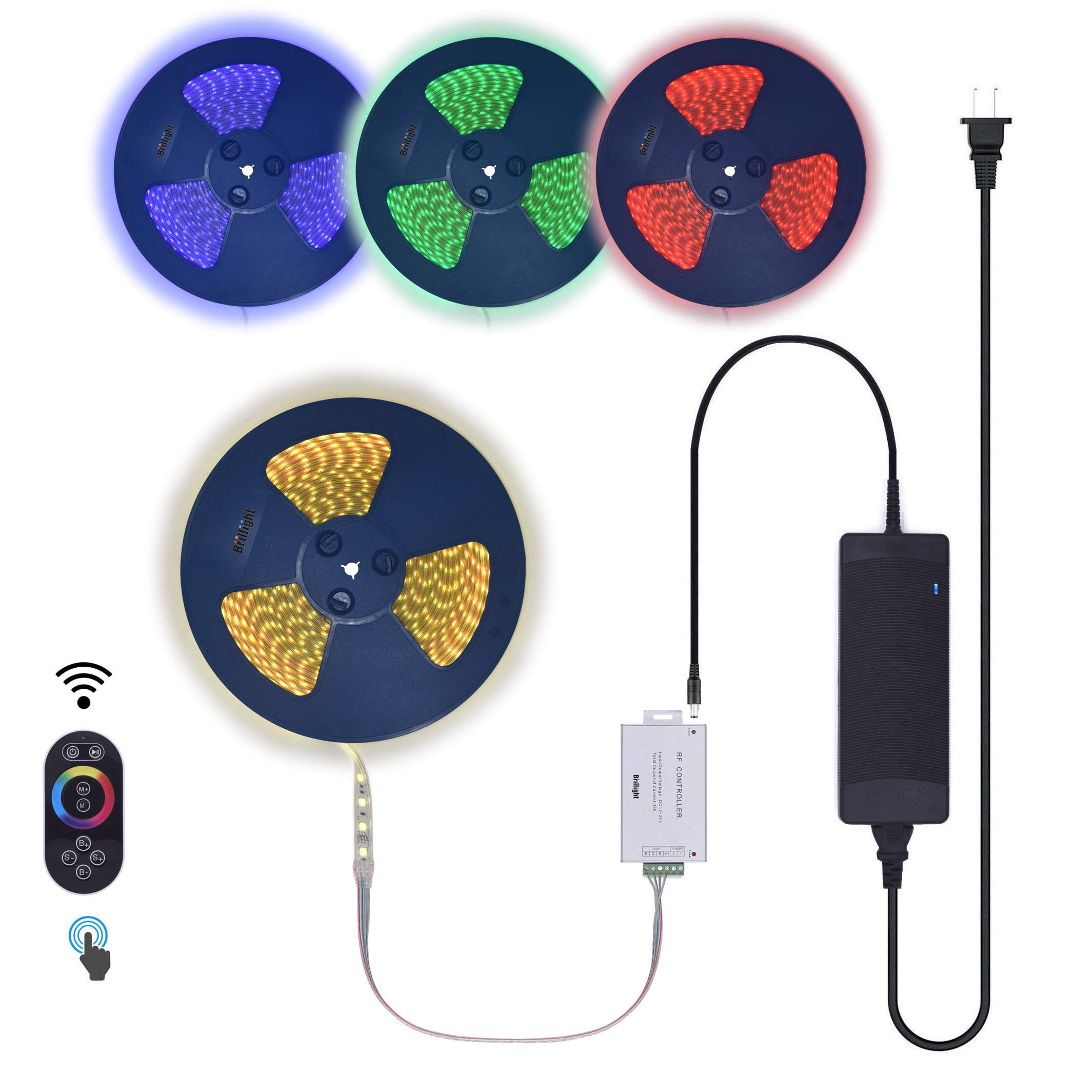 130 Feet RGB LED Strip Light 24V Low Voltage Long Runs Flexible Silicone Tube Encase Waterproof Outdoor Rope Light incl RF Touch Colors Changing Controller