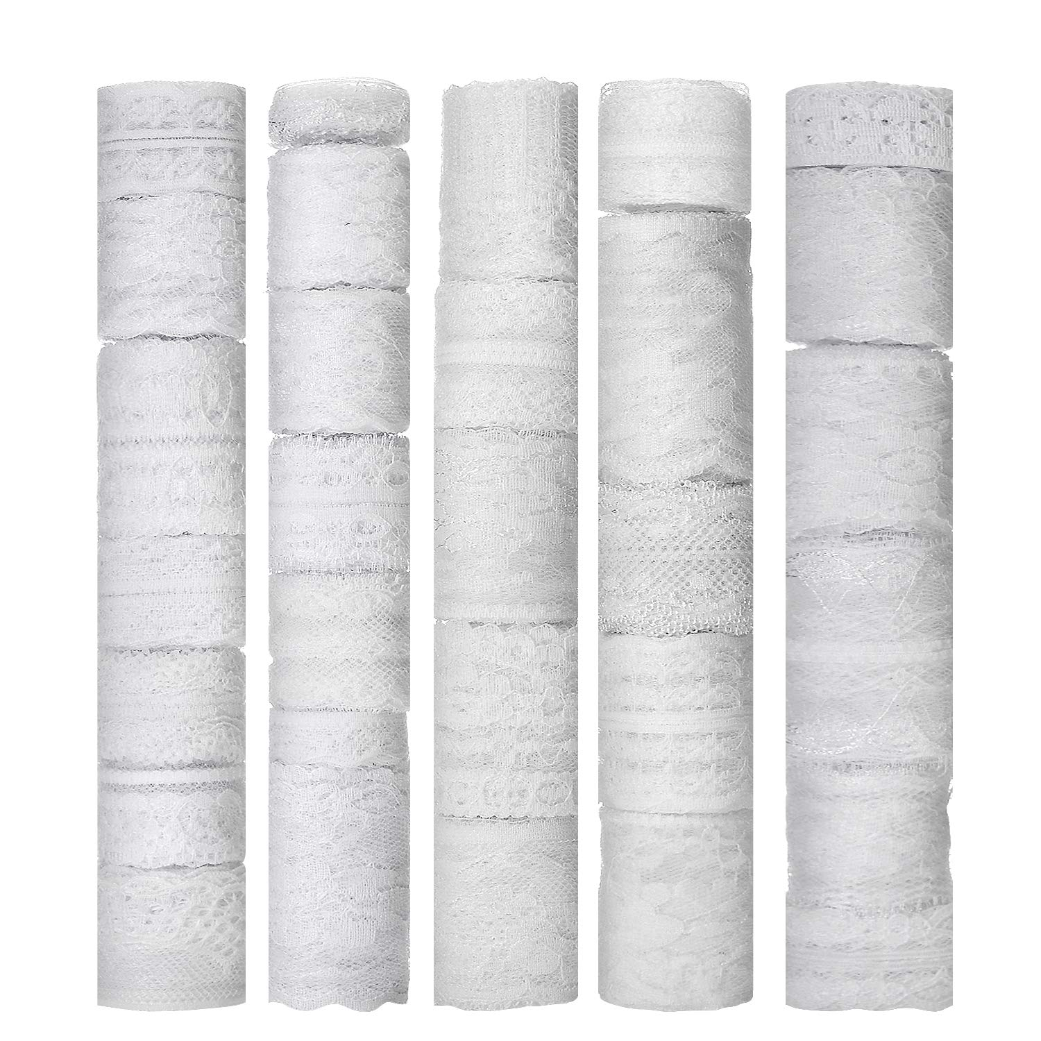 YUEAON 30 Rolls White Lace Ribbon Trim Assorted Patterns Lace Fabric for Bridal Wedding Decorations Sewing DIY Making 90 Yards by YUEAON