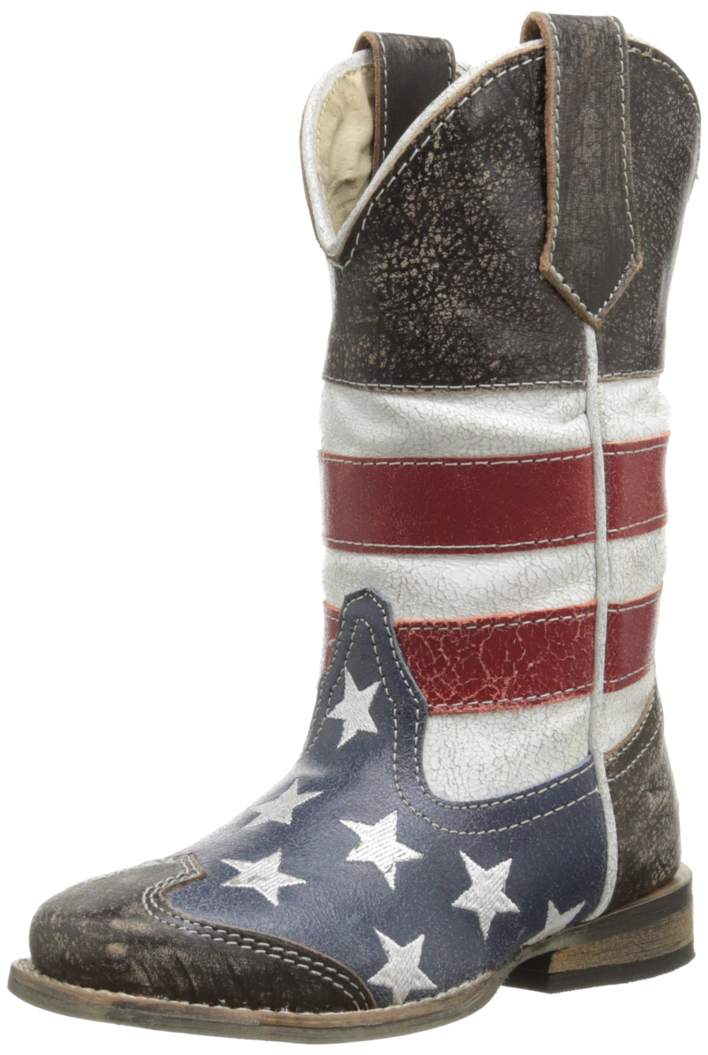 Roper Square Toe Americana Western Boot (Toddler/Little Kid),Red/White/Blue/Brown,11 M US Little Kid