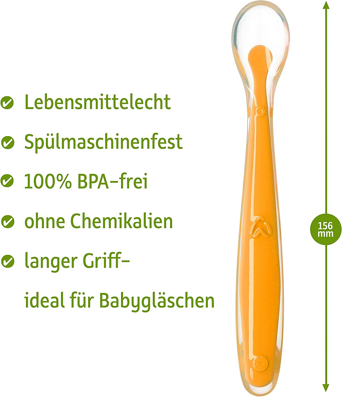 A partir de 0 meses Para aprender a comer Juego de cucharas para beb/é de silicona suave Contenido: 5 unidades Juego de cucharas para beb/é multicolor