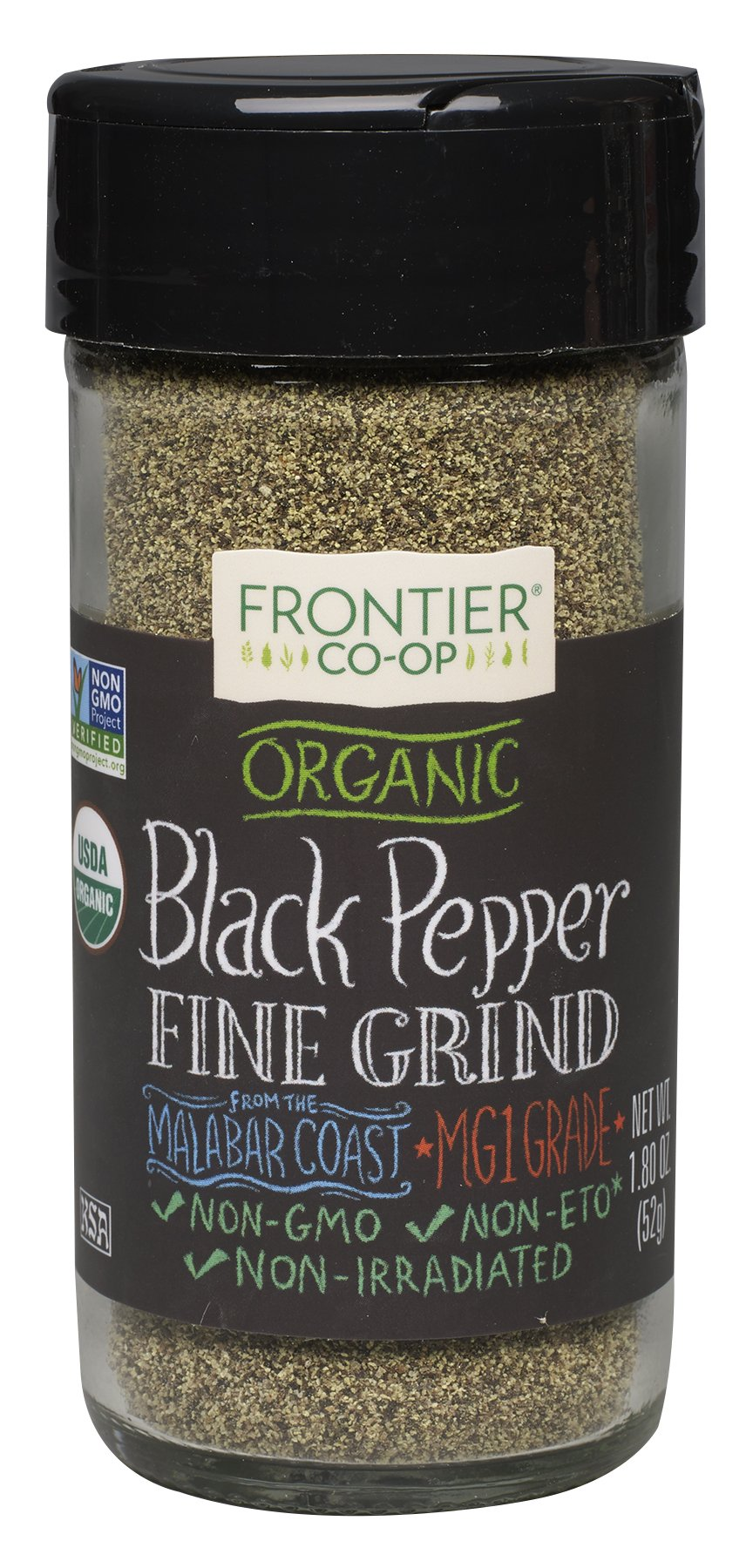 Frontier Natural Products Pepper, Og, Black, Fine Grnd, 1.80-Ounce