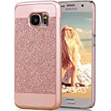 S6 Case, Galaxy S6 Case, Imikoko™ Fashion Luxury Hard Glitter Hybrid Sparkle Slim Protective Rubber Bumper Case Crystal Rhinestone Gold Beauty Case Cover For Samsung Galaxy S6 (Rose Gold)
