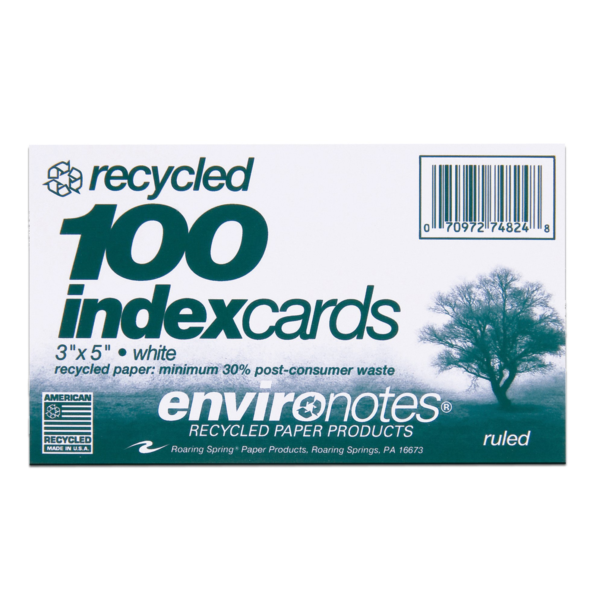 Case of 36 Packs of Recycled Index Cards, 3''x5'', 100 sheets of White Recycled 100# Index Per Pack, Ruled one side