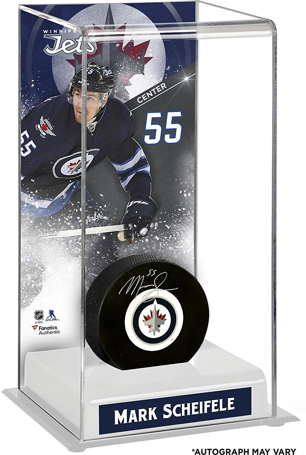 Mark Scheifele Winnipeg Jets Autographed Puck with Deluxe Tall Hockey Puck Case - Fanatics Authentic Certified