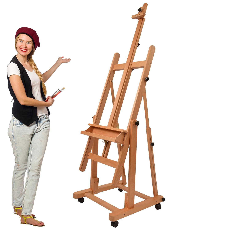 Artina Cavalletto da studio per pittura professionale Verona - pregiato legno di faggio oleato - base con comode ruote