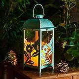 Solar Lantern Outdoor Hummingbird Blue Decor Antique Metal and Glass Construction Mission Solar Garden Lantern Indoor…