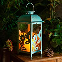 Solar Lantern Outdoor Hummingbird Blue Decor Antique Metal and Glass Construction Mission Solar Garden Lantern Indoor…