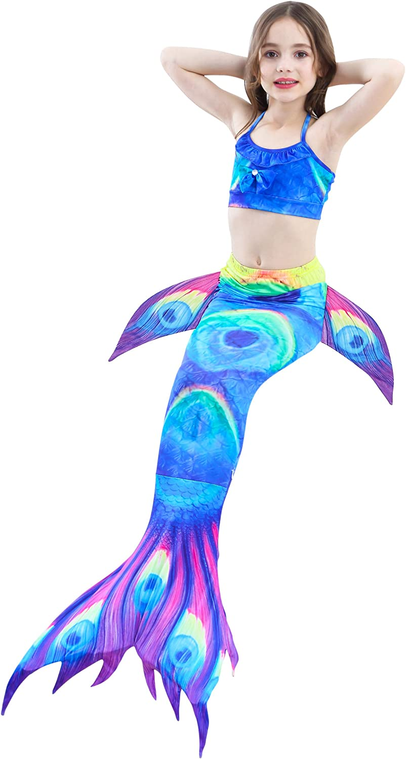 Mermaid Tail Swimmable Princess Bikini Set Swimsuit Costume for Girls with Fin