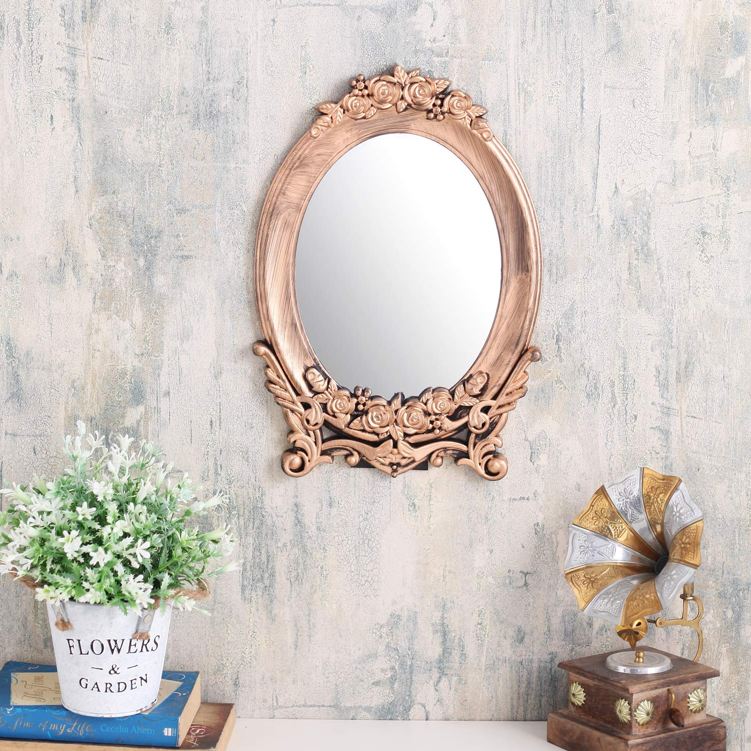 Buy A Vintage Affair Decorative Wall Mirror Antique Hanging Design Small Size Oval For Bedroom Bathroom Living Room Office Copper Online At Low Prices In India Amazon In