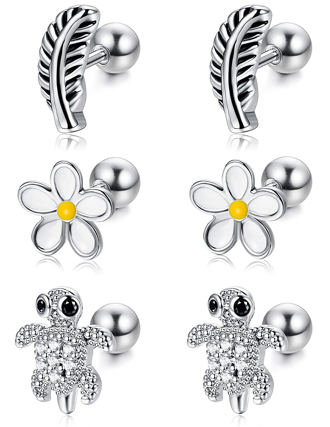 ef9220dc5d8eb ORAZIO Cartilage Earrings for Women Girls Stainless Steel Tiny Feather  Turtle Flower Stud Earrings Helix Tragus Barbell Piercing Jewelry 16G 18G
