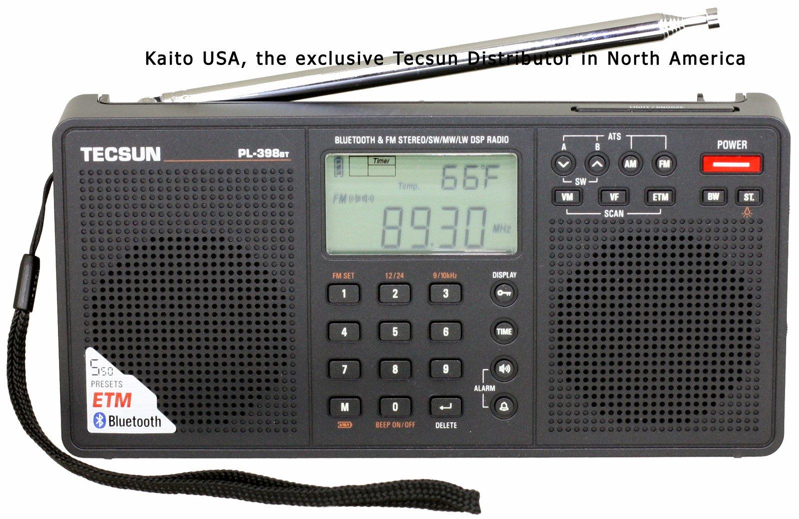 Tecsun PL398BT DSP Digital AM/FM/LW Shortwave Radio with Dual Speakers & Bluetooth, Black