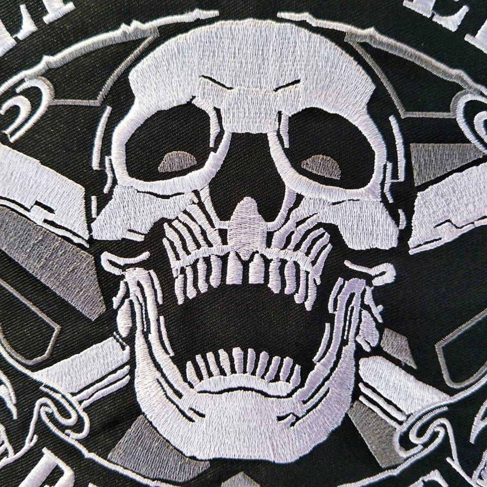 Grande Iron on Patch brod/é Applique /à coudre Label Punk motard patchs V/êtements Stickers Apparel Accessoires badge