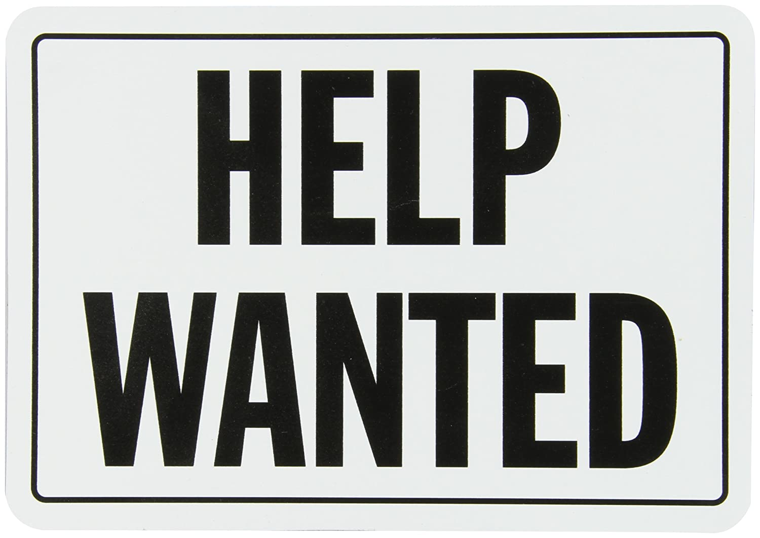 "SmartSign Magnetic Sign, Legend ""Help Wanted"", 7"" high x 10"" wide, Black on White"