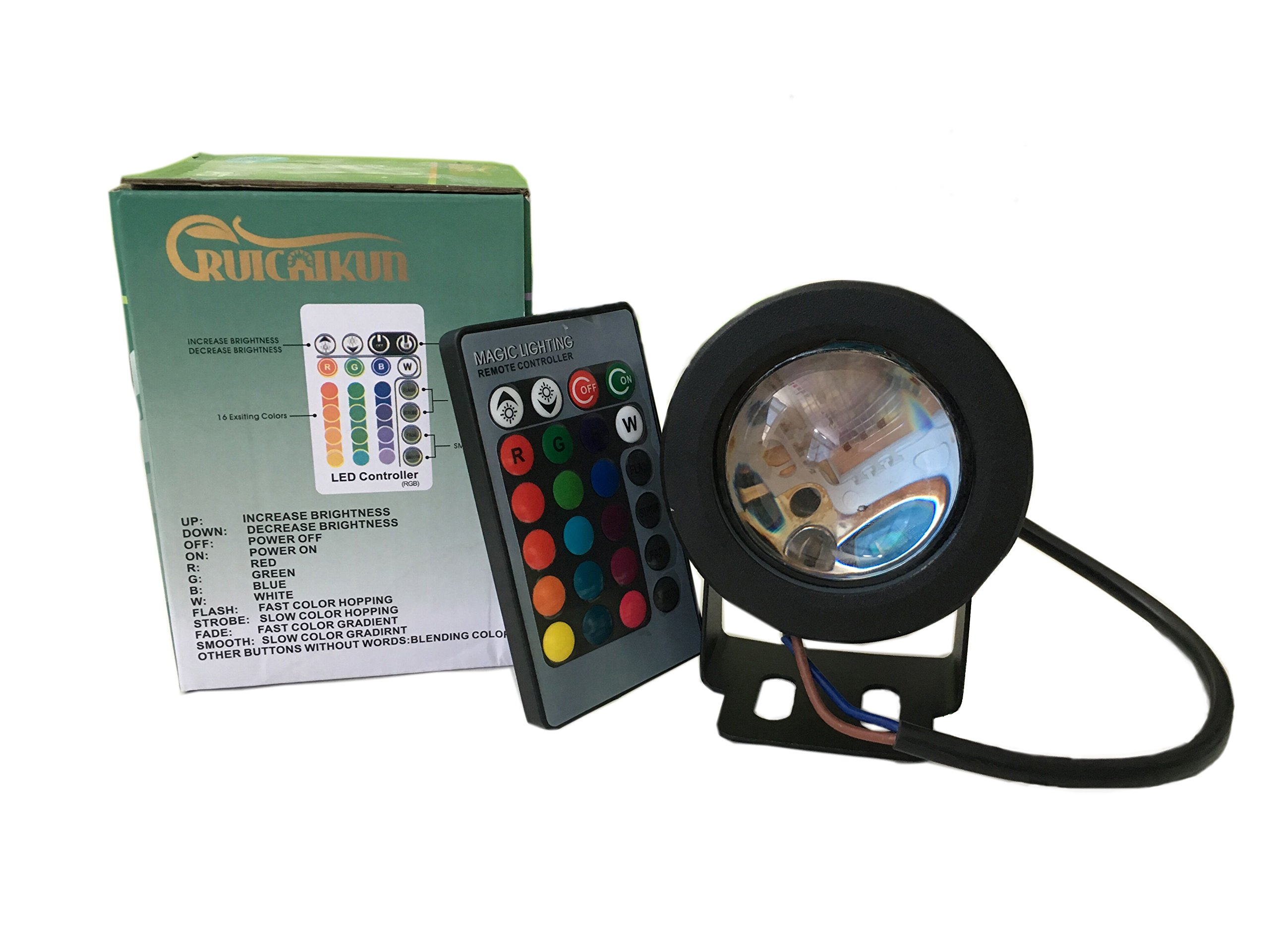 RUICAIKUN 10W Waterproof Outdoor RGB Light LED Flood Light with Remote Control, DC/AC 12V, WITHOUT PLUG