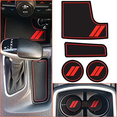 bonbo Custom Fit Liner Accessories for Dodge Charger 2015-2020, Front Center Console Insert, Shifter Bin and Cup Holder Insert Liner Trim Mats, Charger Anti-Slip Interior Accessories(4pcs): Automotive