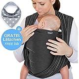 Fascia porta bebè grigio scuro – tracolla di alta qualità per neonati e bambini fino a 15 kg – cotone leggero – include una borsa portaoggetti e un bavaglino GRATUITO – grazioso design by Makimaja®