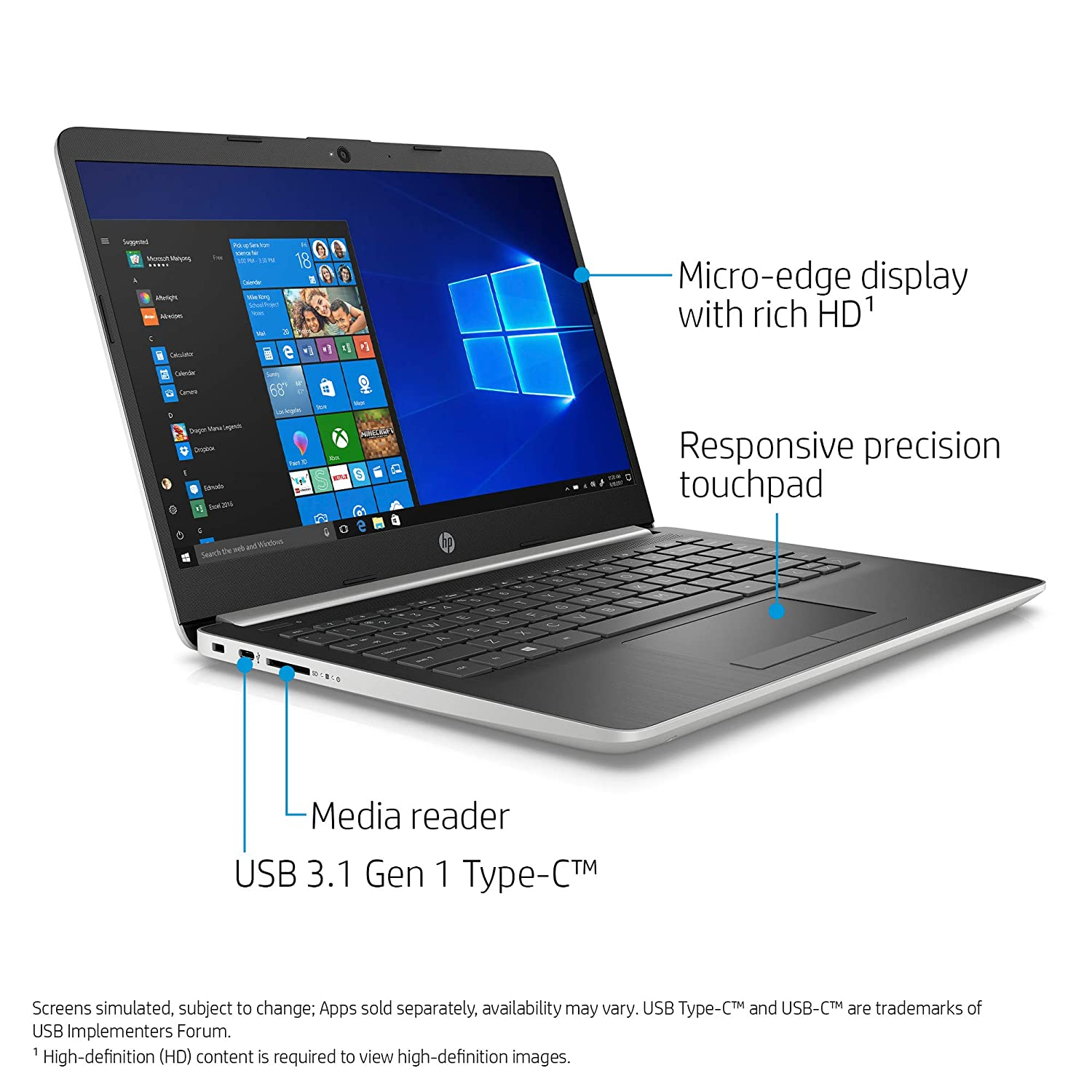 Amazon.com: HP 14-inch Laptop, 8th Generation Intel Core i3-8130U Processor, 4 GB SDRAM, 128 GB Solid State Drive, Windows 10 Home in S Mode (14-df0020nr, ...