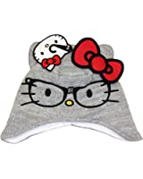 Girls Winter Hello Kitty Grey Beanie Hat Hello Kitty With Glasses Design Age 1-3 Years