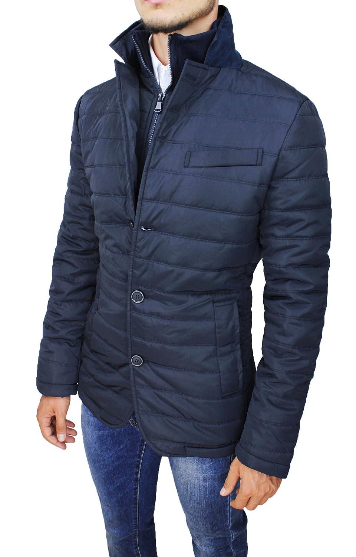 Giubbotto piumino uomo blu slim fit casual giacca giubbino invernale
