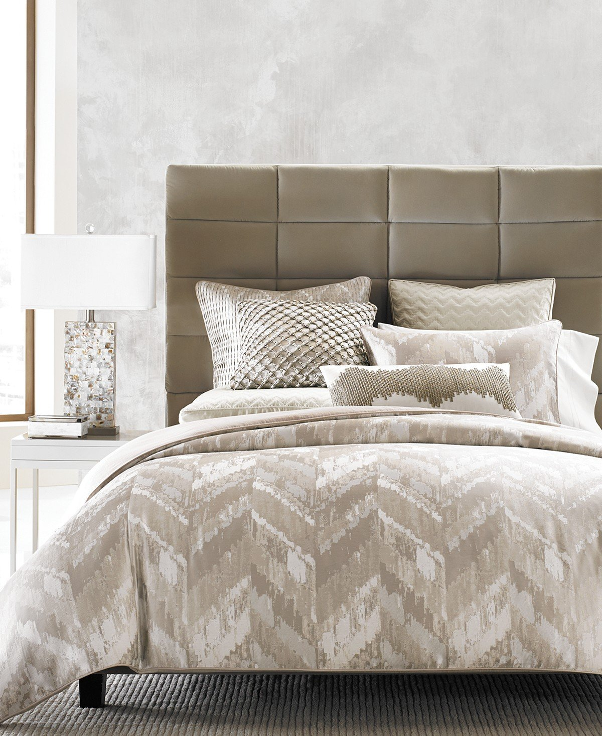 Hotel Collection GOLD Distressed Chevron King Comforter RETAIL: $540