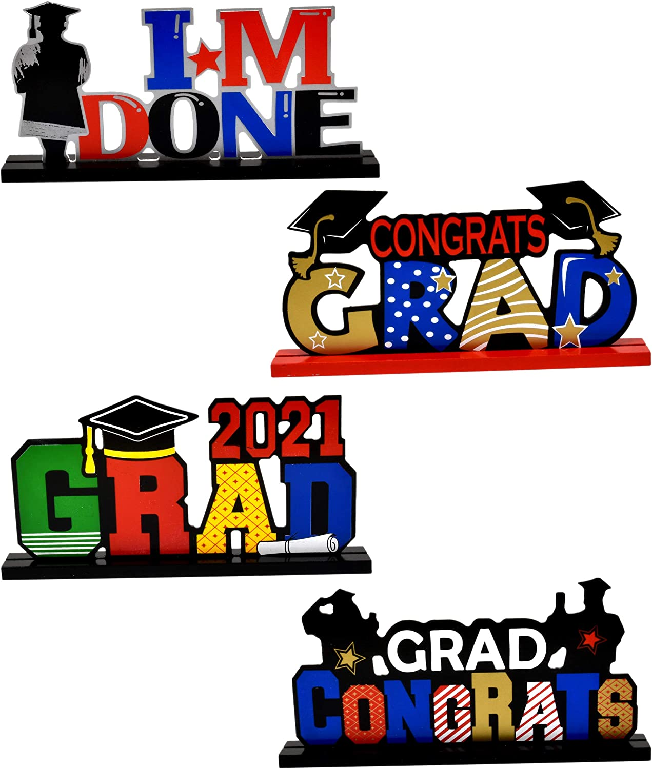 Graduation Table Decorations Set of 4 Congrats Grad Table Toppers Centerpiece Class of 2021 Wooden Signs Gifts for Nurse College Graduate High School Classroom Desk Shelf Home Party Supplies Decor