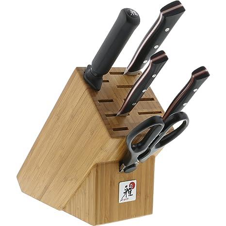 Amazon.com: MIYABI - Juego de cuchillos, Negro con acento ...
