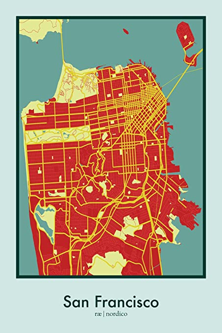 Amazon.com: San Francisco, USA Map Print: Home & Kitchen