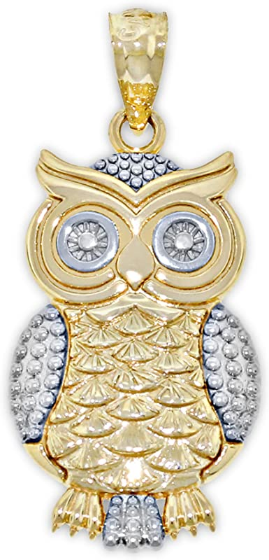 Solid Gold Owl pendant Owl charm 14k solid yellow gold