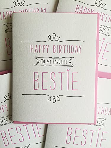 Birthday Card For Best Friend   Letterpress Printed Birthday Card