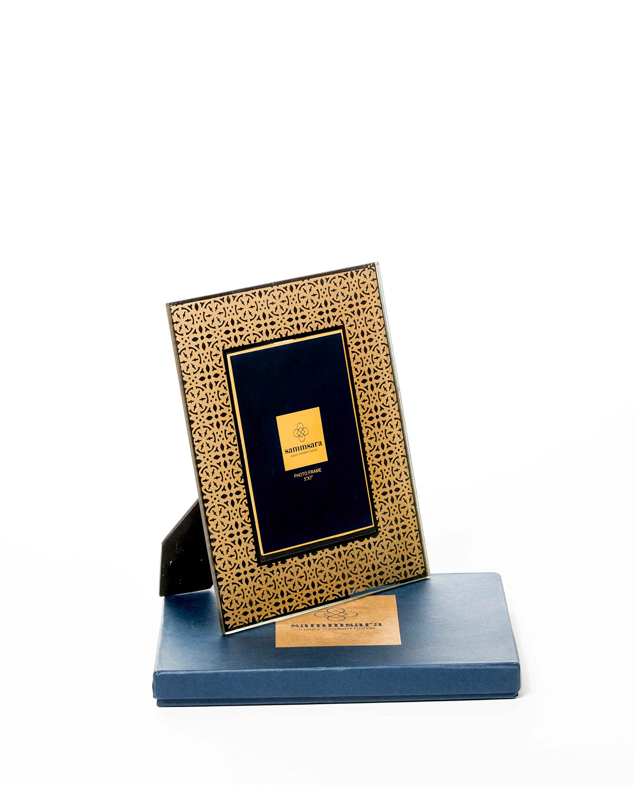 """Sammsara Glass Photo Box Florina Gold Glass Pattern Photo Frame for Table beautiful 5x7 frame """" Inches Photosize with Free Beautiful Gift Box"""