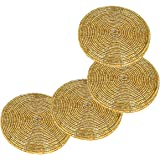 Prisha India Craft Set of 4 Handmade Gold Beaded Tea Coasters - 4.2 Inches Placemats for Tea cups - Set of Drink Coaster absorbent - Christmas Gift with WOODEN KEYRING