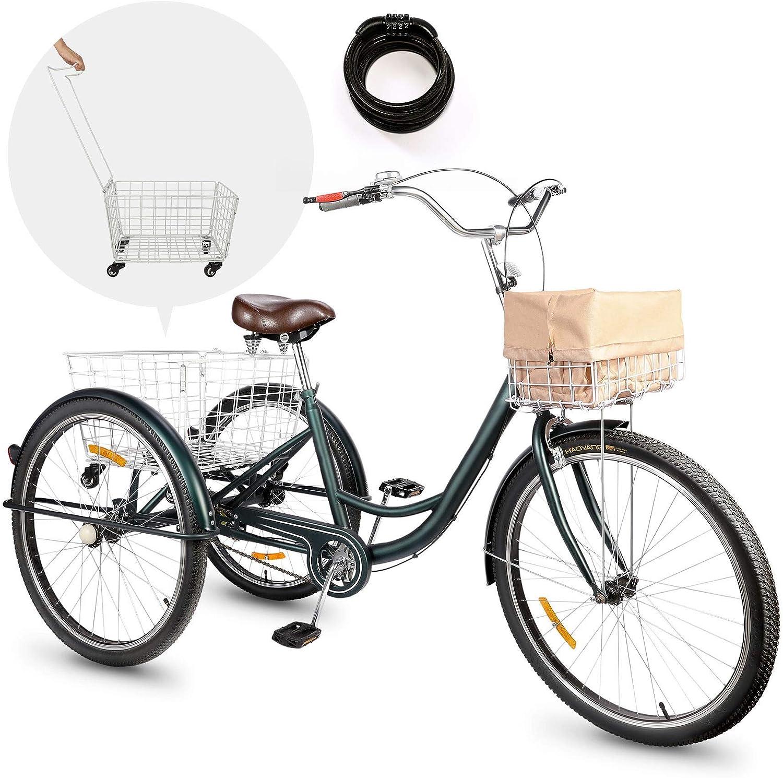 Viribus Triciclo para Adultos 26'' con Cesta Extraíble Bicicleta de 3 Ruedas para Compras, Ejercicios y Mascotas Bicicleta de Triciclo con Bolsa Impermeable y Campana