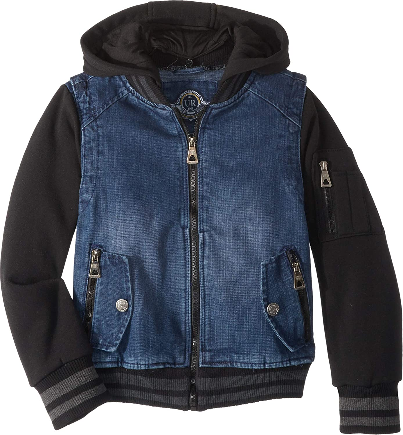 Urban Republic Kids Mens Aaron Cotton Denim Bomber Jacket (Little Kids/Big Kids)