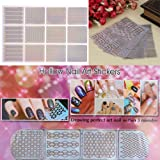 Rrimin Hollow Nail Art Self-adhesive Stencil Stickers Waterproof Salon Nail Beauty Image Stamps Guides Trandfer Decoration (6 Sheets 72pcs)