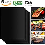 BBQ Grill Mat Set of 5, Non-Stick BBQ Grill & Baking Mats, SHINE HAI FDA-Approved, PFOA Free, Reusable and Easy to Clean, BBQ Accessories for Gas, Charcoal, Electric Grill and More- 15.75 x 13 Inch