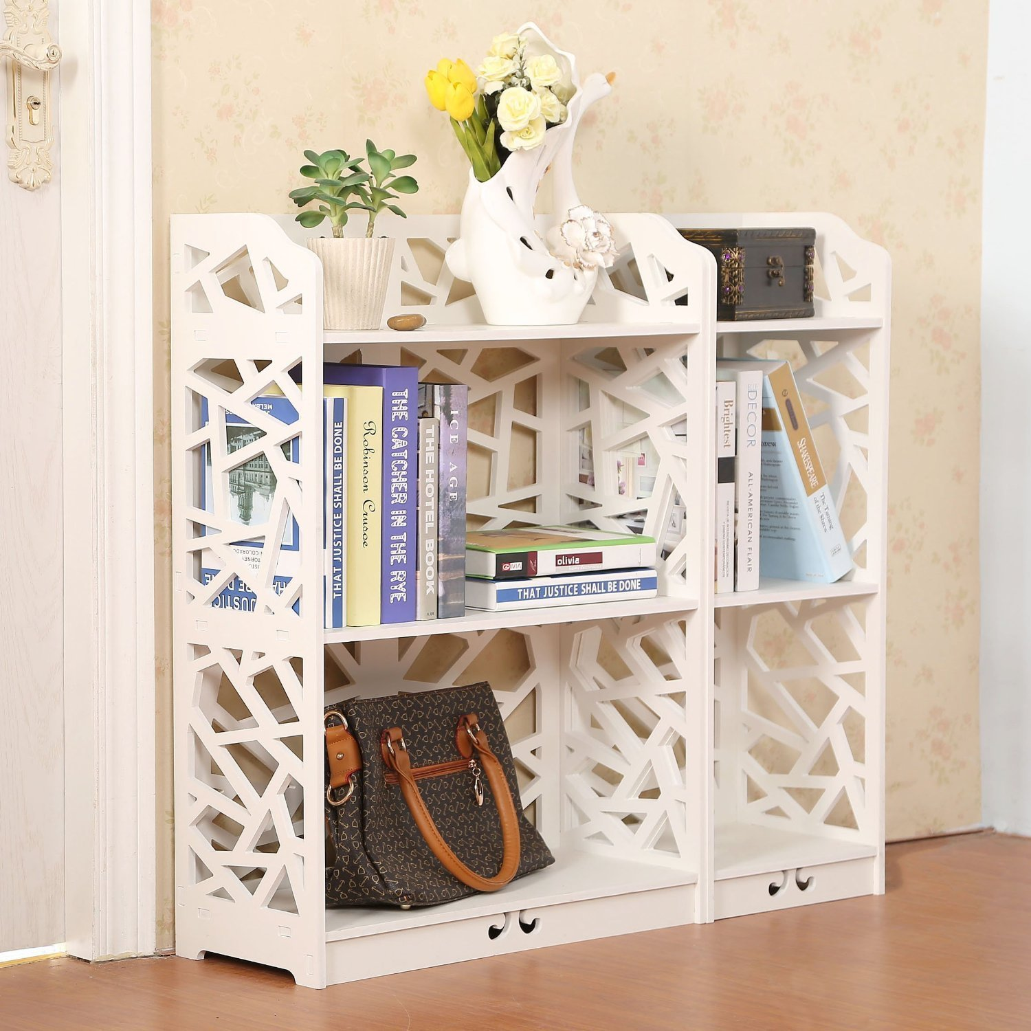 Amazon.com: D Line Wood And Plastic Bookcase Bookshelf Storage Shelf,  White, Set Of 2: Kitchen U0026 Dining